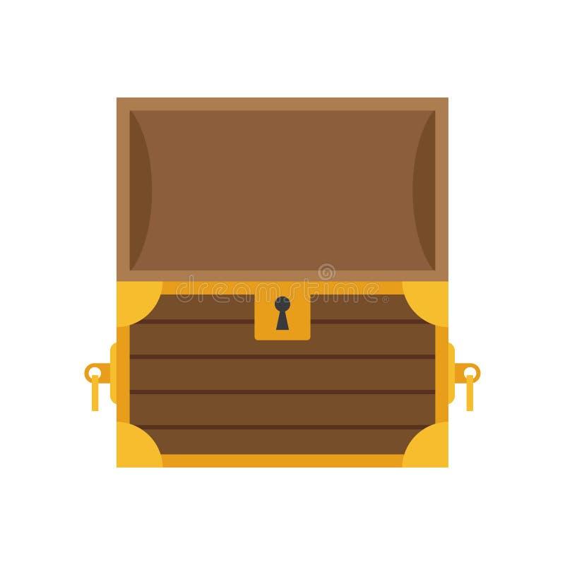 Drewniana pusta klatka piersiowa z otwartą pokrywą ilustracji