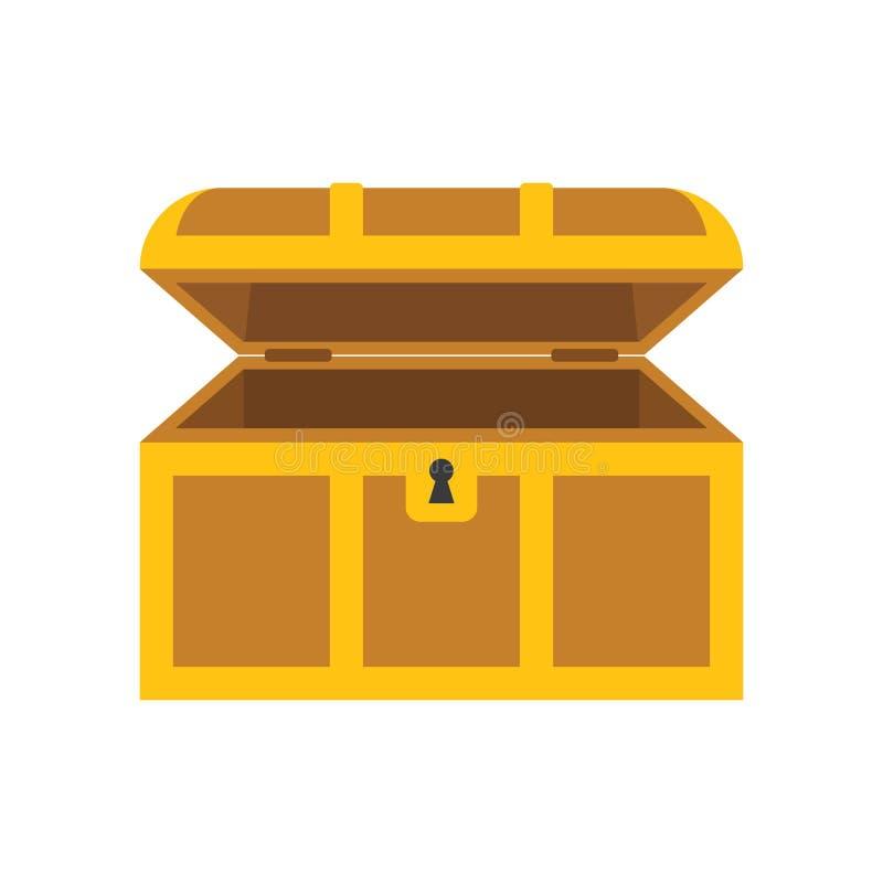 Drewniana pusta klatka piersiowa z otwartą pokrywą royalty ilustracja
