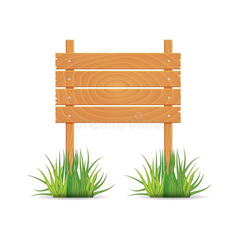 Drewniana puste miejsce deska podpisuje wiosna czas z trawą ilustracja wektor