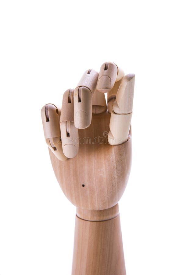 Drewniana ręka odizolowywająca na białym tle fotografia stock