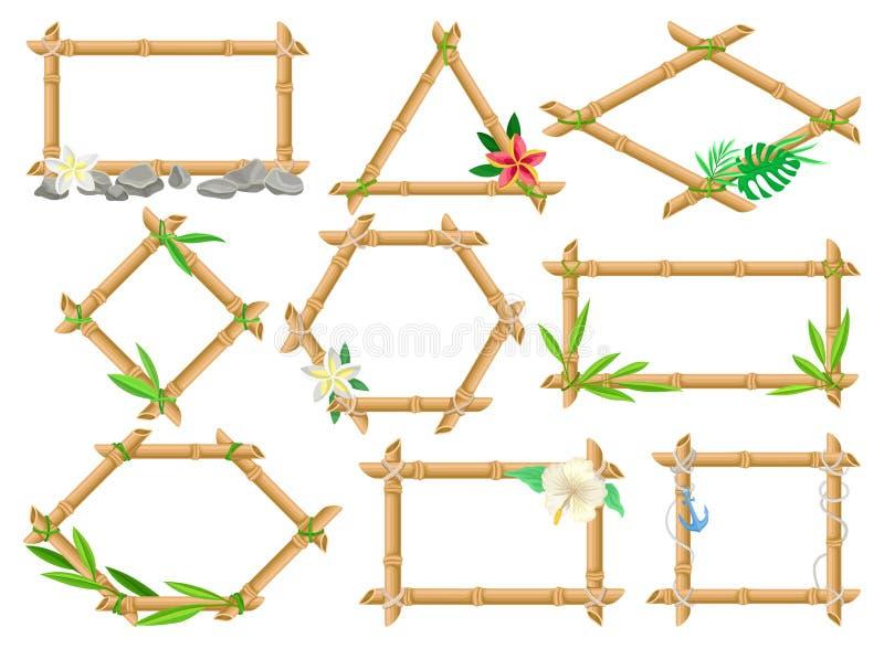Drewniana rama robić bambusów kije ustawia, ramy różni kształty z kwiatami i liścia wektoru ilustracje ilustracji