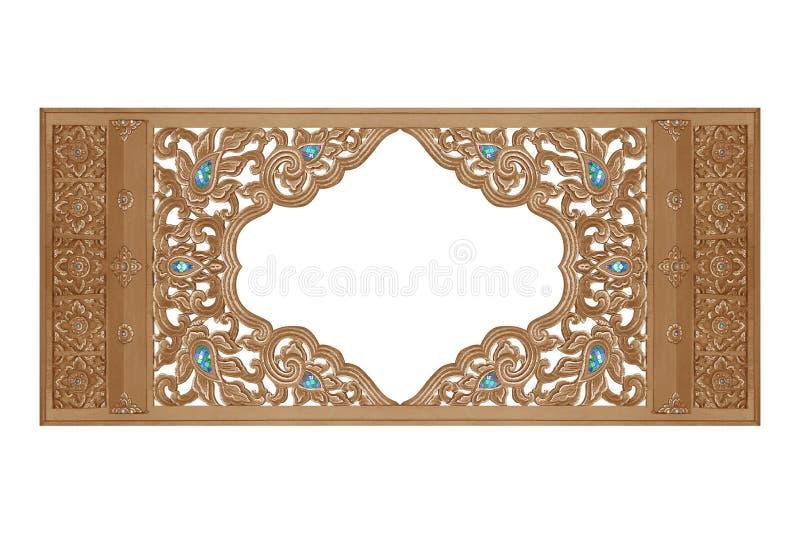 Drewniana rama rzeźbiąca kwitnie teksturę zdjęcia royalty free