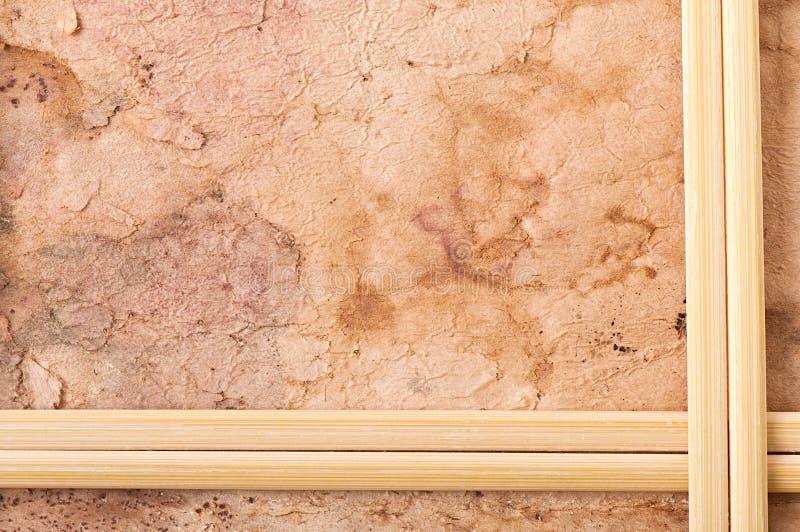 Drewniana rama, stary papier obrazy stock