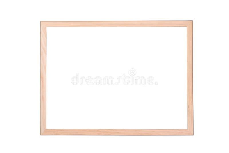 Drewniana rama z białym tłem z ścinek ścieżką i kopii przestrzenią dla twój teksta zewnętrznie i wewnętrzną fotografia stock