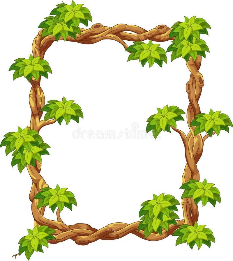 Drewniana rama z zieloną liść kreskówką royalty ilustracja