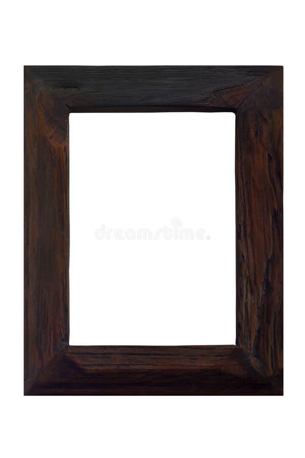 Drewniana rocznik rama odizolowywająca na białym tle zdjęcia royalty free