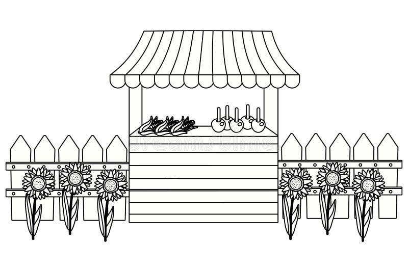 Drewniana rynku kramu kresk?wka ilustracja wektor