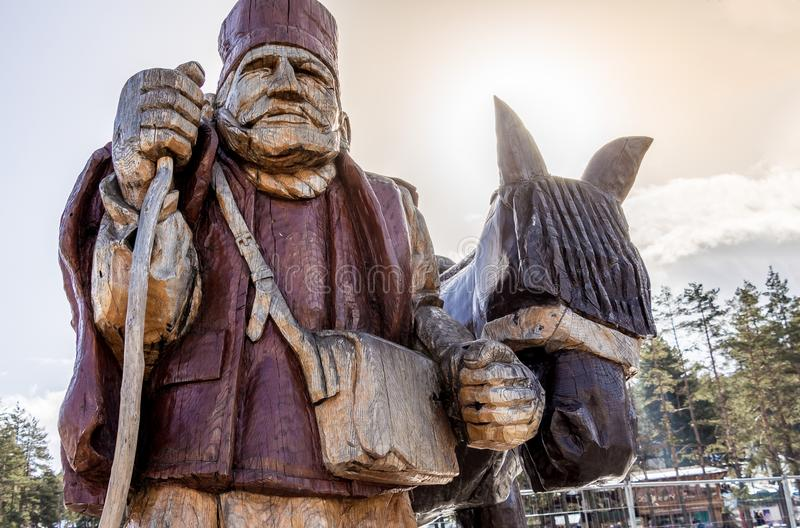 Drewniana rzeźba w Zlatibor fotografia stock