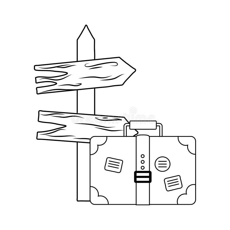 Drewniana strzałkowata przewdonik etykietka z walizką ilustracji