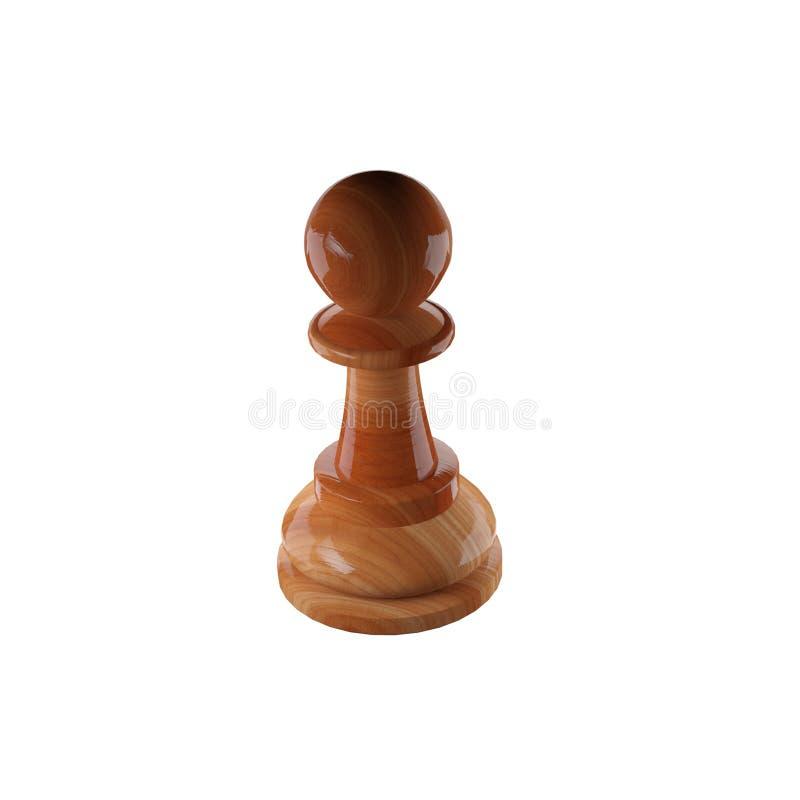 Drewniana szachowa zastawnicza postaci 3d ilustracja ilustracja wektor