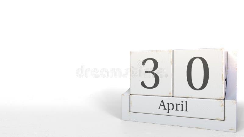 Drewniana sześcianu kalendarza przedstawień Kwietnia 30 data, 3D rendering royalty ilustracja