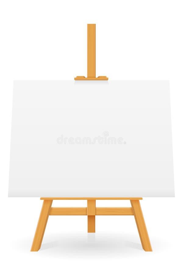 Drewniana sztaluga dla malować i rysować z pustym prześcieradłem papieru szablon dla projekta wektoru ilustracji ilustracji