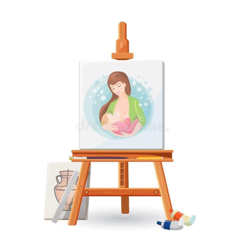 Drewniana sztaluga z obrazkiem kobiety breastfeeding dziecko z muśnięciem, ilustracji