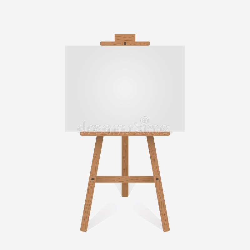Drewniana sztaluga z pustą białą kanwą wektor ilustracja wektor