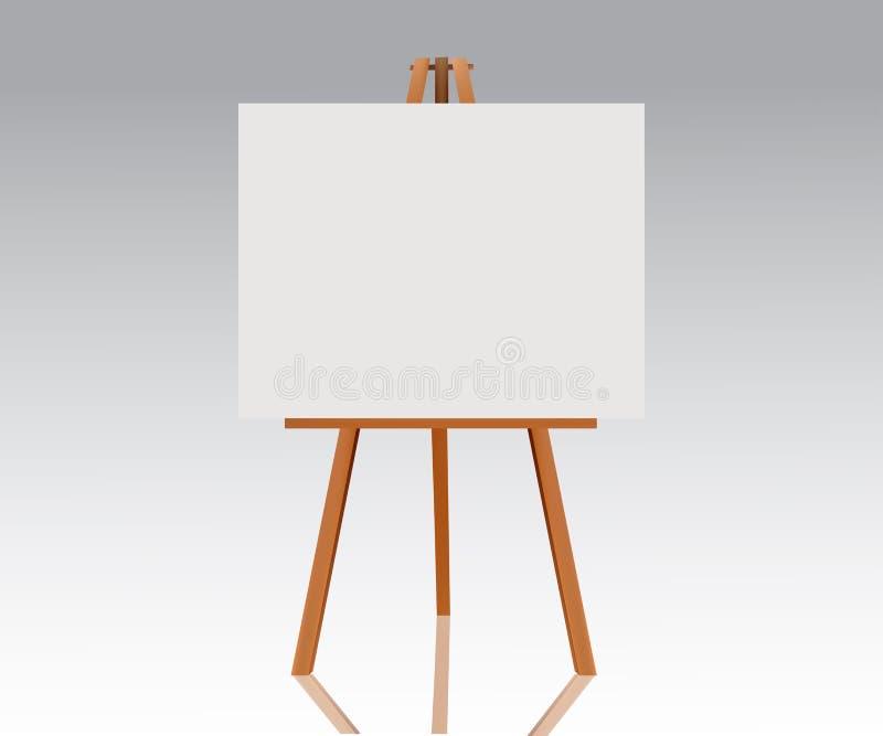 Drewniana sztaluga z pustą kanwą Pusta przestrzeń przygotowywająca dla reklamy, projekta i prezentaci twój, Wektoru egzamin próbn royalty ilustracja