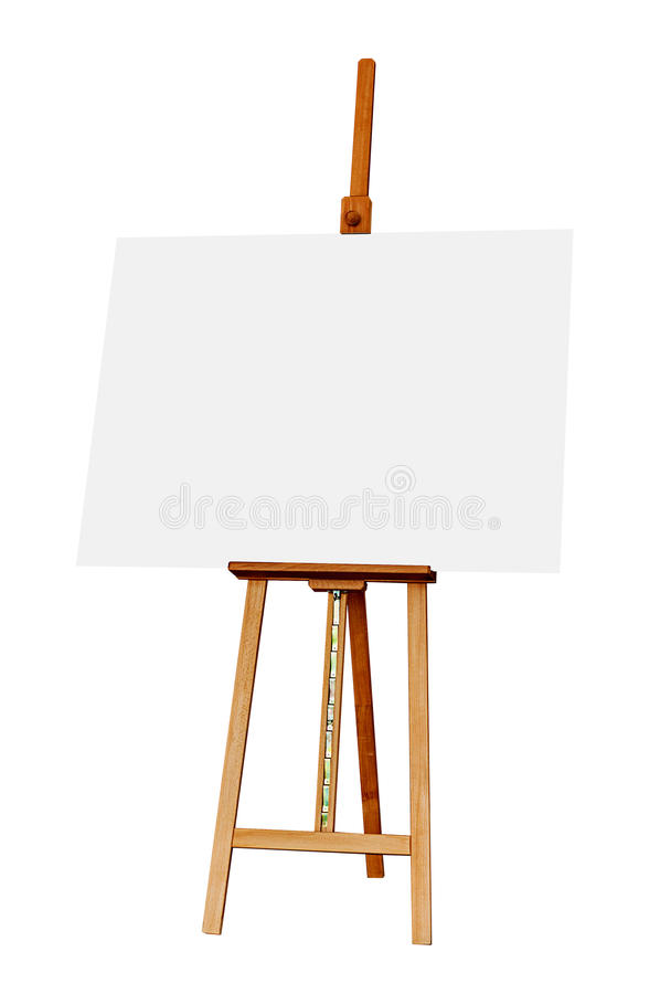 Drewniana sztaluga z Pustą obraz kanwą Odizolowywającą na Białym Backgr obrazy royalty free