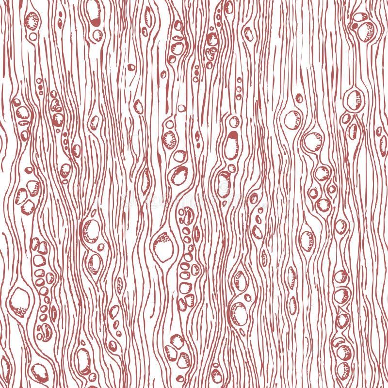 Drewniana tekstura Abstrakcjonistyczna ręka Rysujący Drewniany Bezszwowy wzór Doodl royalty ilustracja