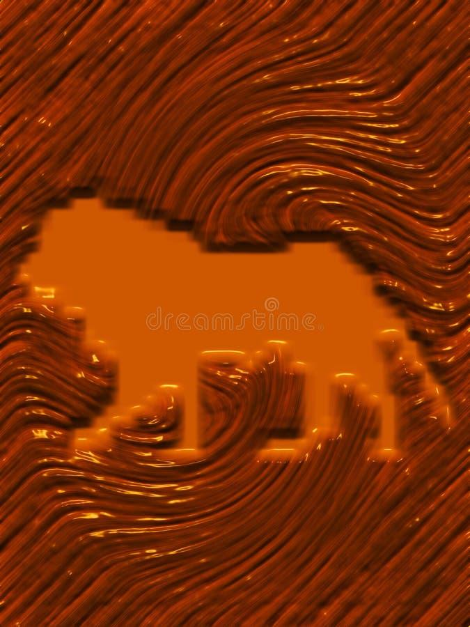 Drewniana tekstura z grawerujący tygrysa 3 d z oświetleniowego skutka komputer wytwarzającym tłem i tapetowym projektem royalty ilustracja