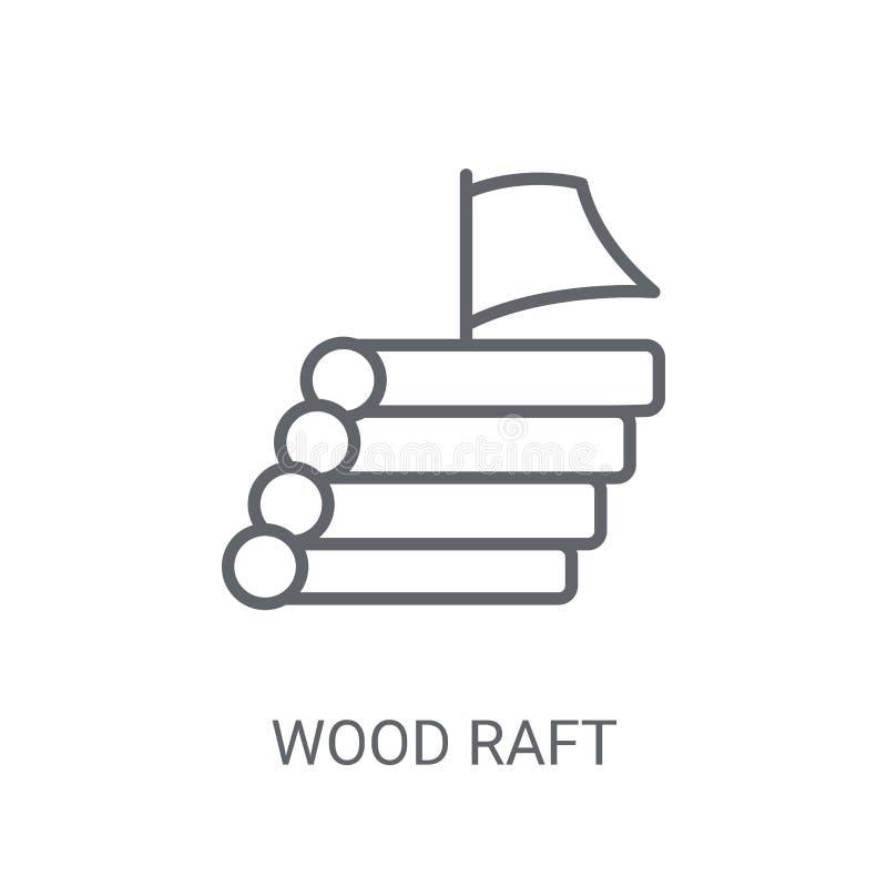 Drewniana tratwy ikona Modny Drewniany tratwa logo pojęcie na białym backgroun royalty ilustracja