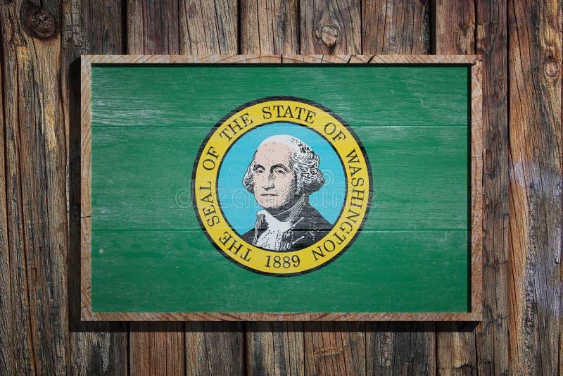Drewniana Waszyngton flaga ilustracja wektor