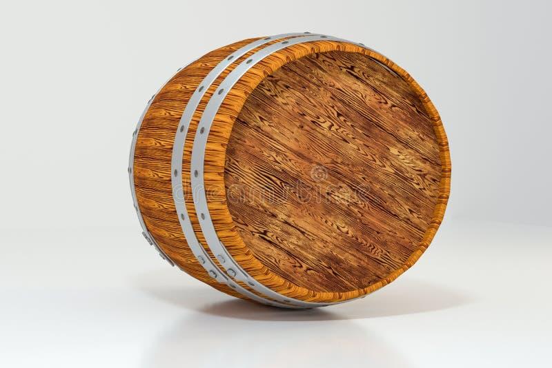 Drewniana wytw?rnia win bary?ka z bia?ym t?em, 3d rendering ilustracja wektor