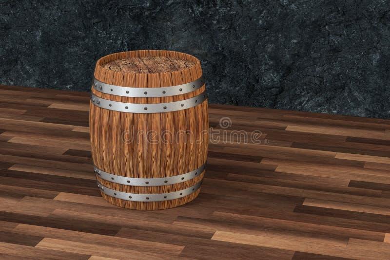 Drewniana wytw?rnia win bary?ka z zmrok rdzy t?em, 3d rendering royalty ilustracja