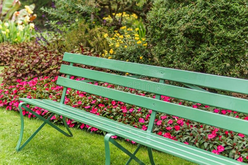 Drewniana zielona ławka w parka lub ogródu letnim dniu fotografia royalty free