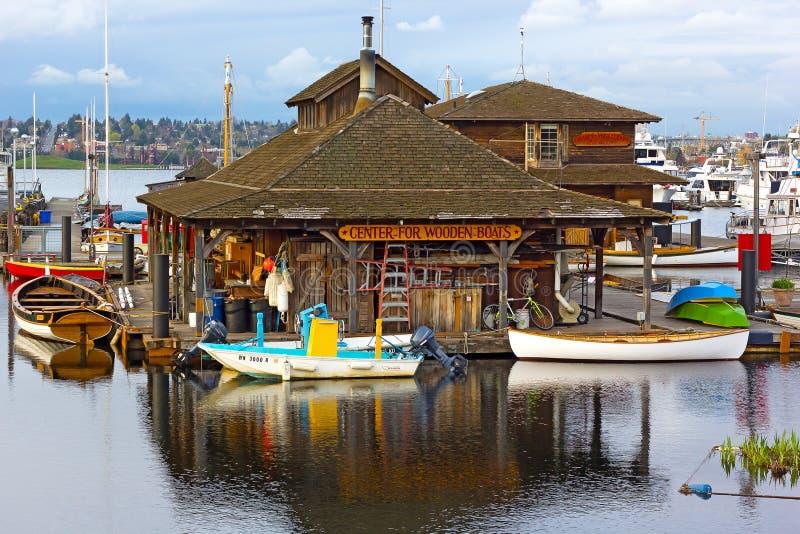 Drewniane łodzie muzealne na Jeziornym zjednoczeniu fotografia stock
