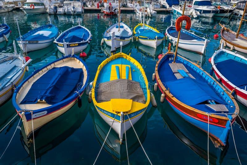Drewniane łodzie, południe Francja zdjęcia royalty free