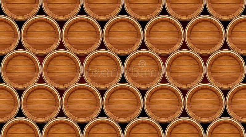 drewniane barrel Naczynie dla utrzymywa? wino, piwo i nap?j, r?wnie? zwr?ci? corel ilustracji wektora royalty ilustracja