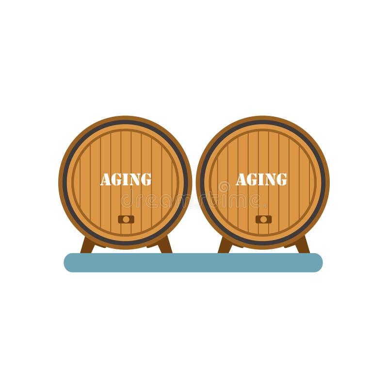 Drewniane baryłki, starzeć się wino proces, wytwórnii win produkci wyposażenia wektorowa ilustracja na białym tle royalty ilustracja