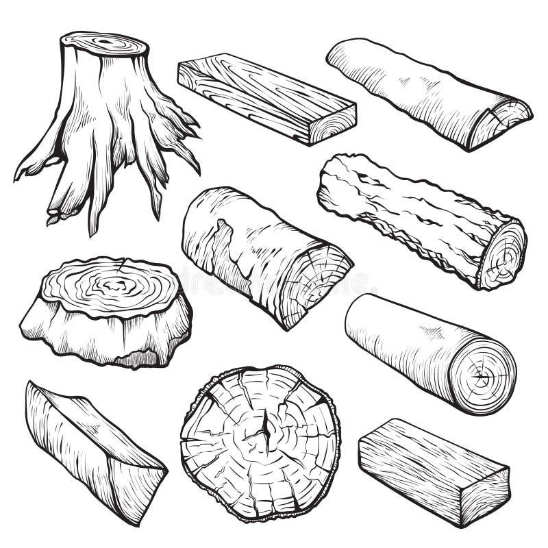 Drewniane kłody i rysunki z drewna ciągnione ręcznie ilustracji