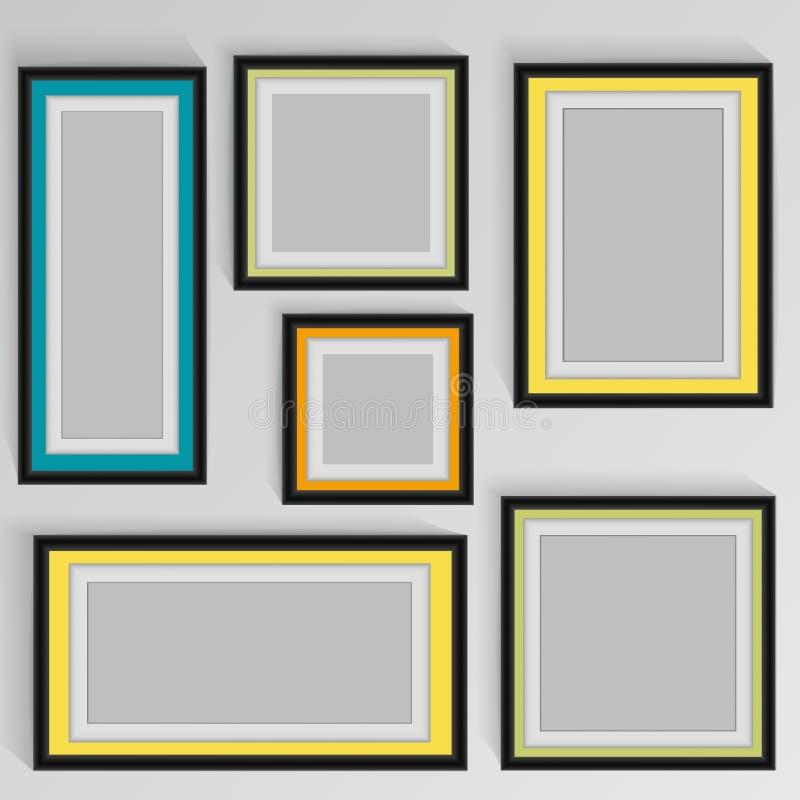 Drewniane kwadratowe obrazek ramy barwią tęczę ustawiającą dla twój sieć projekta ilustracji