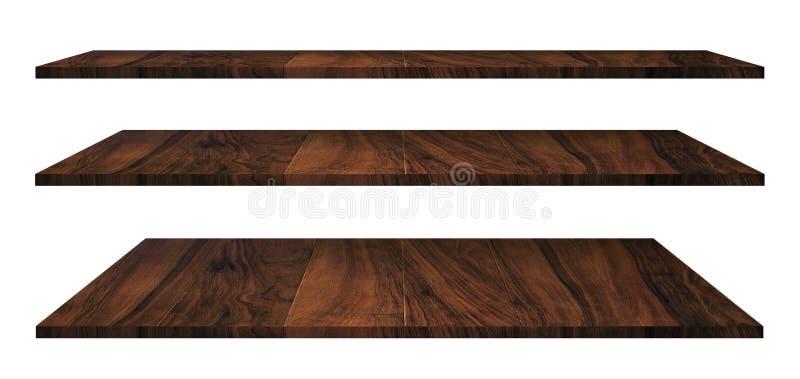 Drewniane półki odizolowywać na bielu obraz stock