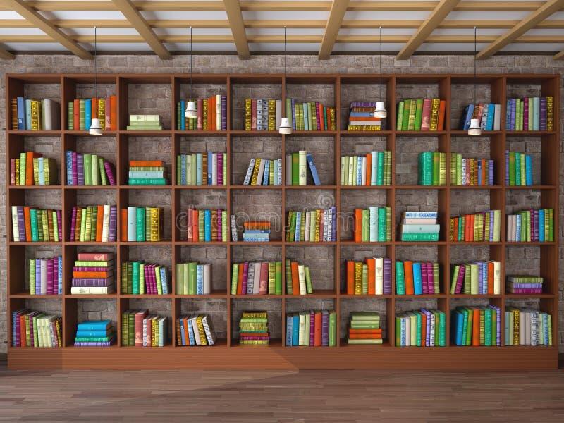 Drewniane półki w pokoju z różnymi książkami ilustracji