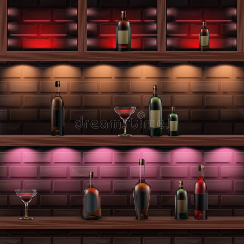 Drewniane półki z alkoholem royalty ilustracja