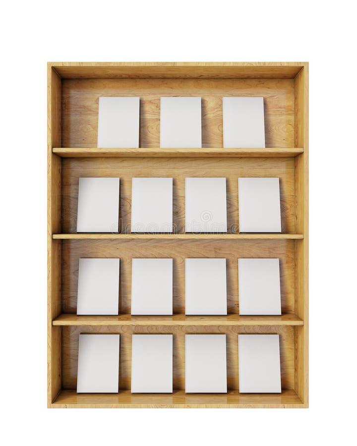 Drewniane półki z pustymi książkami odizolowywać na białym tle royalty ilustracja