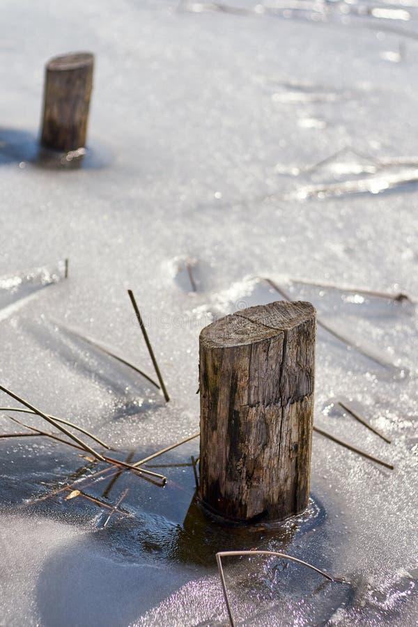 Drewniane poczty Wynika A Marznącego jezioro zdjęcia royalty free