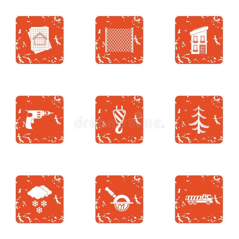 Drewniane rozwój ikony ustawiać, grunge styl royalty ilustracja