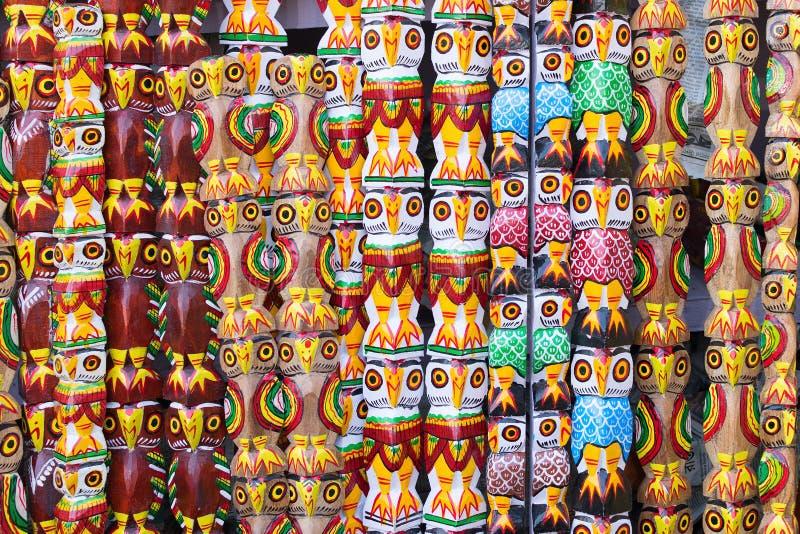 Drewniane sowy, Indiańscy rękodzieła uczciwi przy Kolkata zdjęcie stock