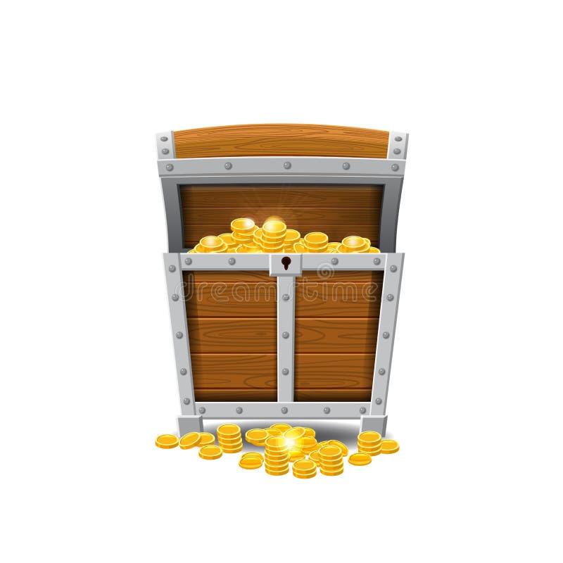 Drewniane stare pirat klatki piersiowe skarby, pełno, złociste monety, skarby, wektor, kreskówka styl, ilustracja, odizolowywając ilustracja wektor