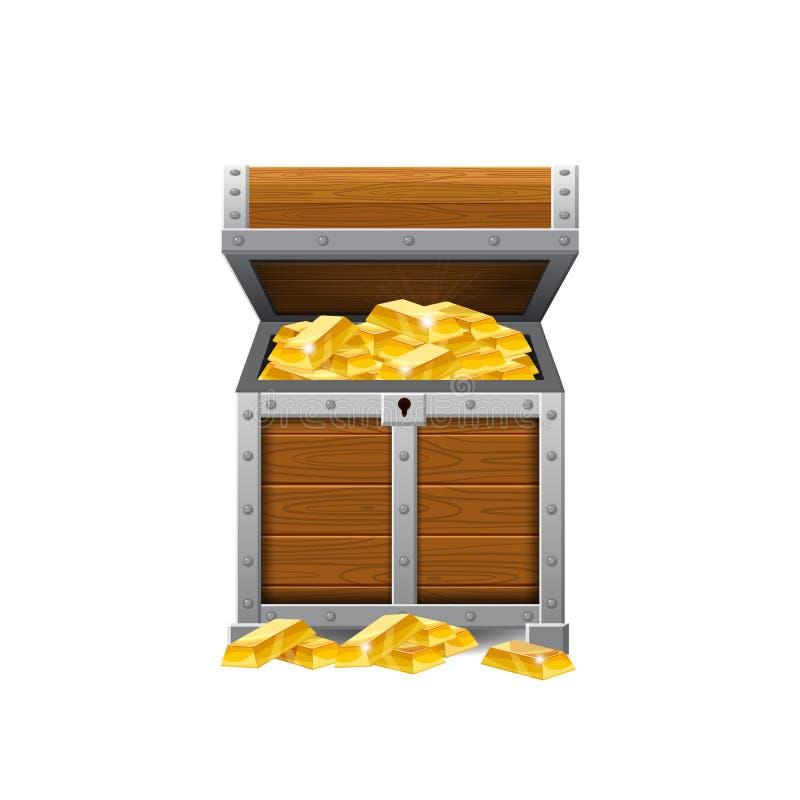 Drewniane stare pirat klatki piersiowe skarby, pełno, złociste monety, skarby, wektor, kreskówka styl, ilustracja, odizolowywając royalty ilustracja