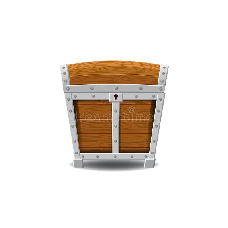 Drewniane stare pirat klatki piersiowe, skarby, zamykać, wektor, kreskówka styl, ilustracja, odizolowywająca Dla gier, reklamując ilustracja wektor