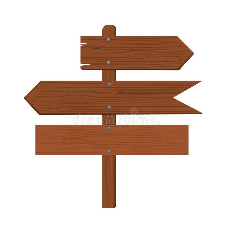 Drewniane talerz strzała i wskaźnik kierunek mieszkanie royalty ilustracja