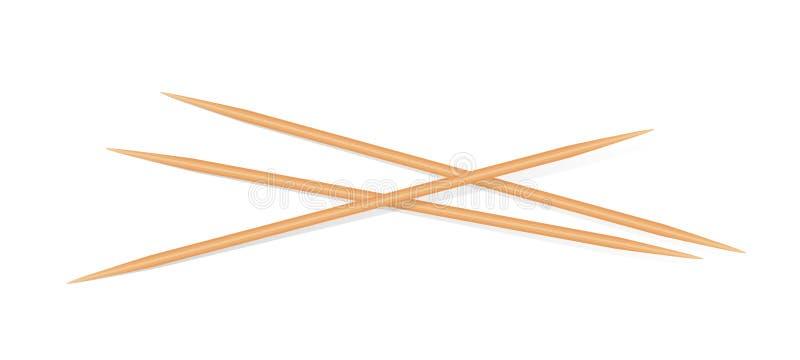 Drewniane wykałaczki odizolowywać na białym tle, Bambusowej wykałaczki mały ostrze, Realistyczne wykałaczki drewniane royalty ilustracja