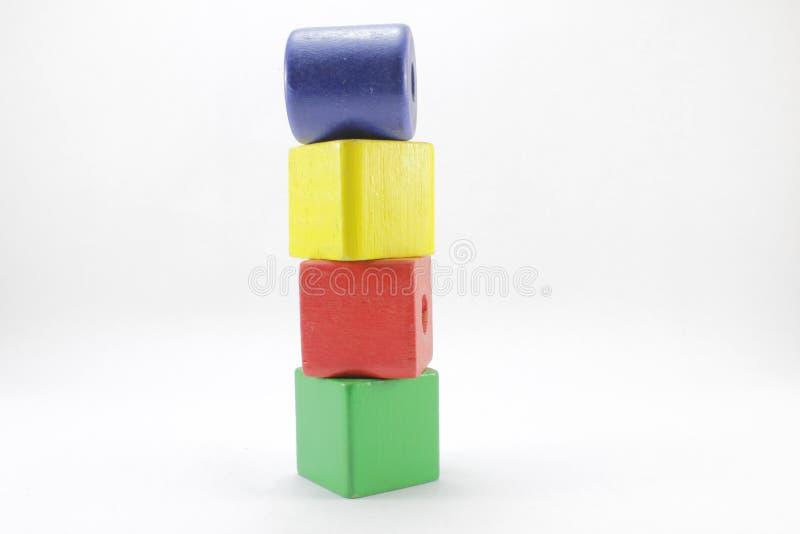 Drewniane zabawki lub zabawka bloki zdjęcia stock