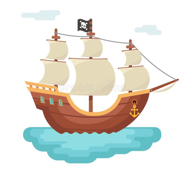 Drewnianego łódkowatego pirata pirata żeglowania obstrukcji nagrody corsair podróży dennego psa statku gemowa ikona odizolowywał  royalty ilustracja
