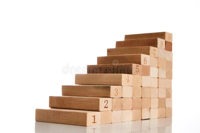 Drewnianego bloku sztaplowanie jako kroka schodek zdjęcia royalty free