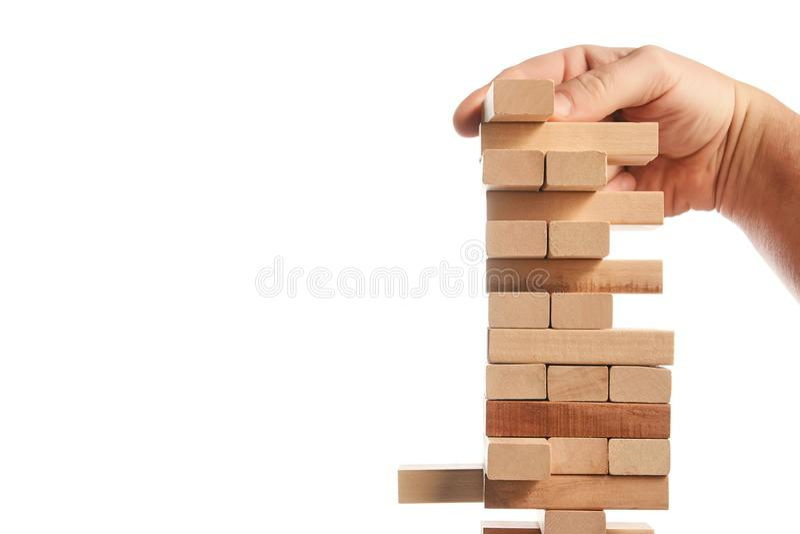 Drewnianego bloku wierza gra na białym tle obraz royalty free