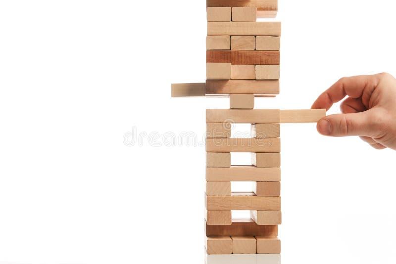 Drewnianego bloku wierza gra na białym tle zdjęcia stock